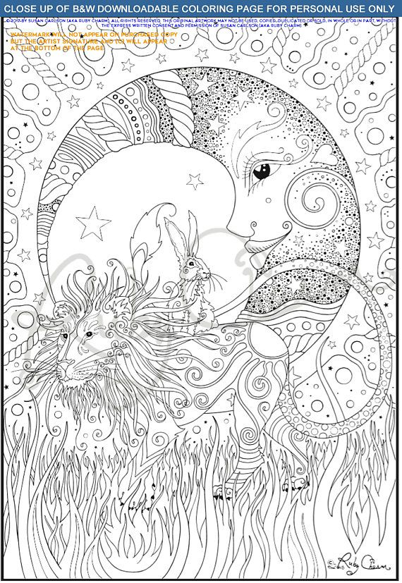 Coloring Page: Lion, Hare and Moon Downloadable Printable ...