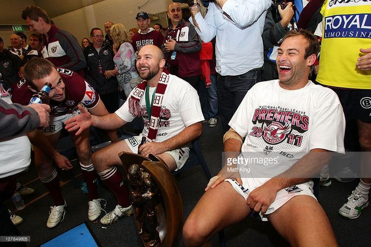 Brett Stewart (R) and Glenn Stewart (L) of the Sea Eagles celebrate victory in the dressing room after the 2011 NRL Grand Final match between the Manly Warringah Sea Eagles and the Warriors at ANZ Stadium on October 2, 2011 in Sydney, Australia.