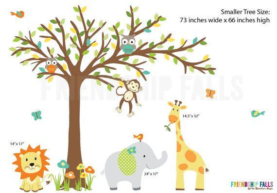 Mädchen-Kinderzimmer Aufkleber, Dschungel Kinderzimmer Wall Decal, Giraffe, Wand Aufkleber, Jungle Aufkleber, blau, grün und gelb Kinderzimmer Wanddekoration, helle Aqua und grün Kinderzimmer Dekor, Freundschaft fällt.  Freundschaft-Falls Zeichen sind ausschließlich für diesen Etsy-Shop nur, und wir freuen uns, sie mit Ihnen teilen! Diese Zeichen wärmt eure Herzen und erhellen Ihre kleinen die Seele bringt ihnen unzählige lächelt!  Die folgenden Zeichen sind in dieser Szene enthalten: Ellie…