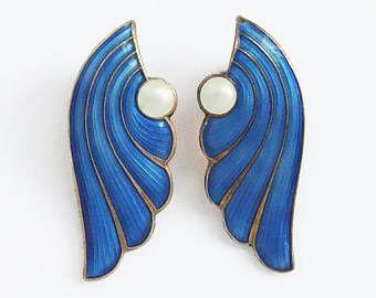 Vintage J Tostrup Norway Clip On Earrings Enamel Blue Norwegian Scandinavian Sterling Silver Gilt CQEANO01
