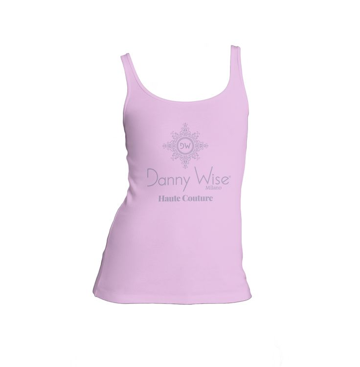 DANNY WISE Tank -Canotta Original: Model Lady slim  100% Cotton  Pastel pink Logo Pastel grey  stamped by Hand in Italy.      size S-M , only in official Boutiques- Stores- Megastores  Danny Wise