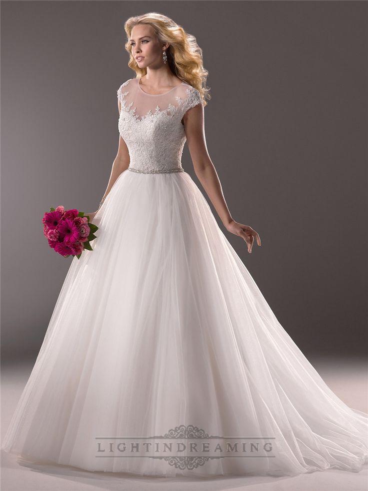 Cap Sleeves Sheer Neckline Sequin Ball Gown Wedding Dresses with Beaded Belt