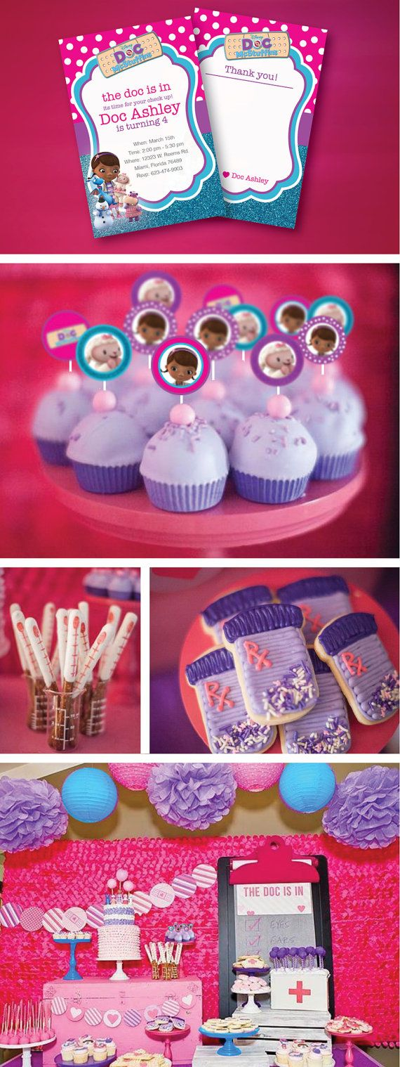 Doc Mcstuffins Birthday Party, Invitation, Thank you Card, Cupcake Toppers, Water Bottle Wraps, Centerpieces, Decoration, Birthday Banner, Labels, Favor Tags, Candy Wraps and so much more; Doc Mcstuffins, Disney, Disney Jr, Pink, Purple, Turquoise,  DIY
