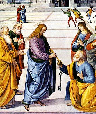 Christ Handing the Keys to St Peter, by Pietro Perugino (1481–82)  https://en.wikipedia.org/wiki/Primacy_of_Simon_Peter