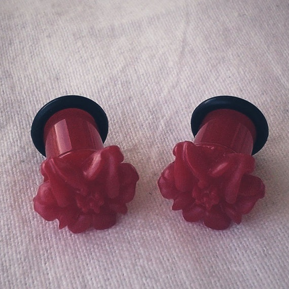 2g 6mm  Plugs Red Lily Flower gauge piercing by Glamsquared, $16.00