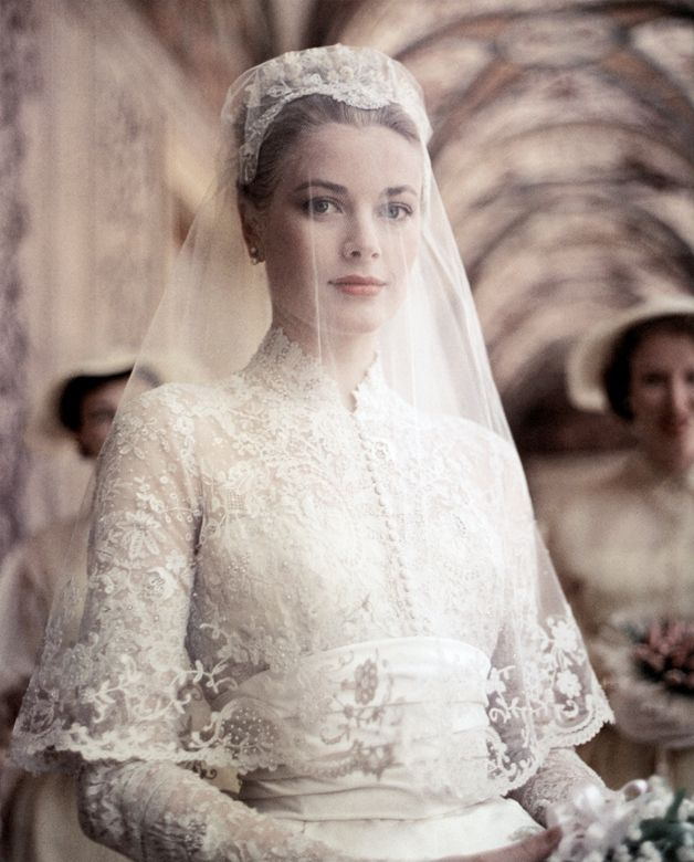 Princess Grace before the religious wedding ceremony of her and Prince Rainier, photographed by Howell Conant for Life, Saint Nicholas Cathedral, Monaco, 19 April 1956.