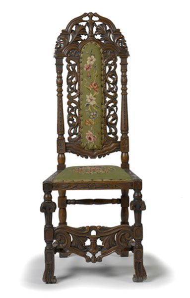Late 19th Century Walnut High Back Chair In William And Mary Style
