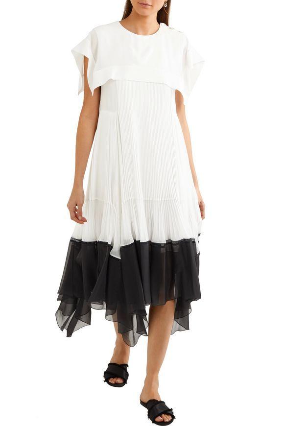 0ac476a58c CHLOÉ Pleated crepe and chiffon midi dress