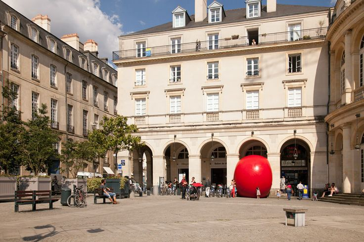 the redball project rennes squeezes into place de la mairie, france