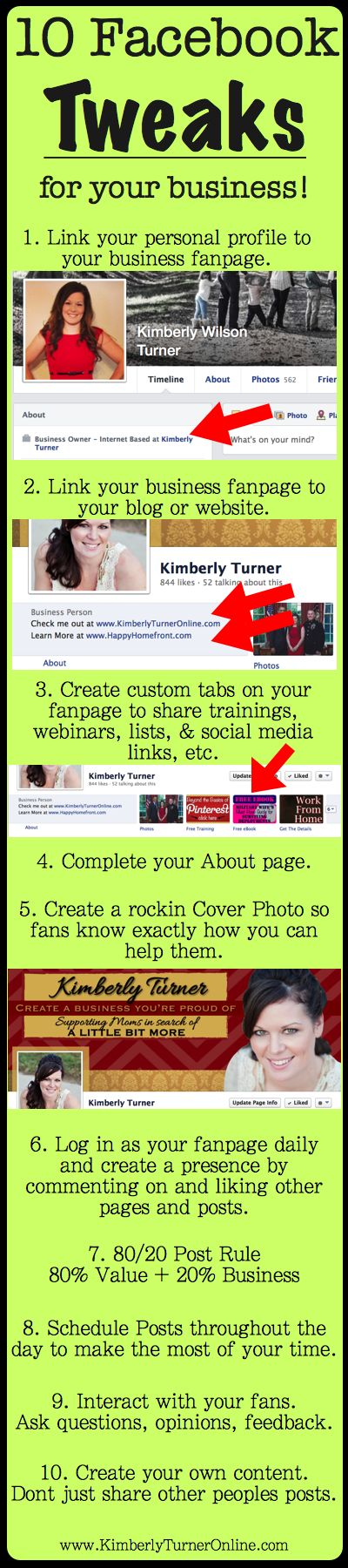 10 Facebook Tweaks for your Business. http://www.serverpoint.com/