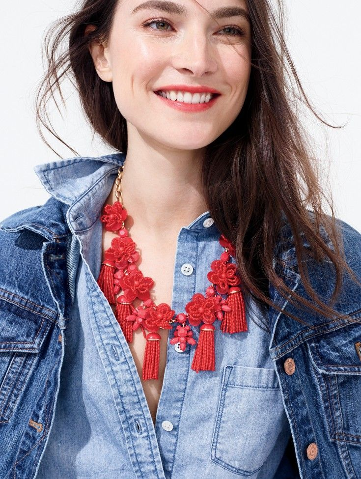 red statement necklace + denim/chambray