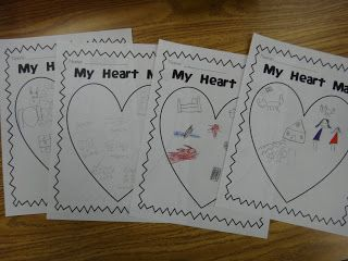 """At the beginning of the year we create a heart map of things that are important to us. This map is a list of ideas that we can use when writing in our journals or when writing stories. It is based on the book """"My Map Book"""" by Sara Fanelli. We keep these in our writing folders to reference when we are stuck on an idea!"""