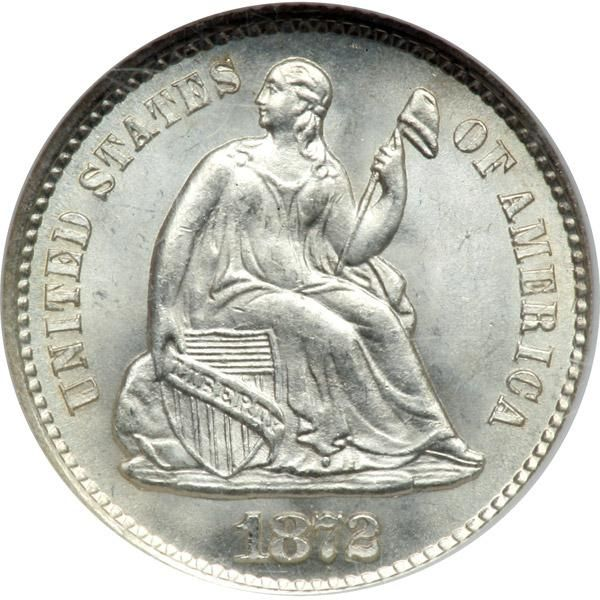 1872-S Liberty Seated Half Dime. Mint mark above bow. NGC MS67 A frosty gem white coin, superb in every way. . The chief factor accounting for the Half Dime's demise was the fact that it, along with other silver coins, had not circulated to any great extent since the suspension of specie payments in the opening months of the Civil War (1861). Instead, millions of United States silver coins were left our shores and were melted, though many still circulated in the Caribbean and other places to…