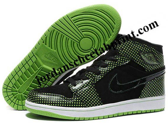 Nike Air Jordan 1 High Shoes Black/Green Wave Point For Sale