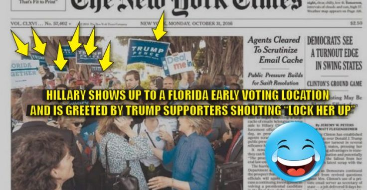 """Humiliated Hillary is SWARMED by Trump Supporters at a Florida Early Voting Location  :::   Hillary Clinton was greeted in Florida by crowds with Trump signs and people shouting, """"lock her up!""""  ----> #NeverHillary #HillaryforPrison"""