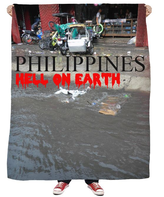 "Custom Fleece Blanket. Your statement ""Philippines – Hell on Earth"" comes also in German, Spanish and French language! So the World may know! Also, available as Sweatshirt, Hoodie, Yoga Pants, Handy cover, Joggers, Leggings, Tee, blouse, skirt, shirt, sweater, Beach Towel, Tank Top, Crop Top, pillowcase, Onesie, fleece blanket, dress, Bandana, mug, glass, laptop, shower curtain. Philippines, Manila, Bohol, Makati, travel,  novelty, World, apparel, Pinterest, pin, bestseller."