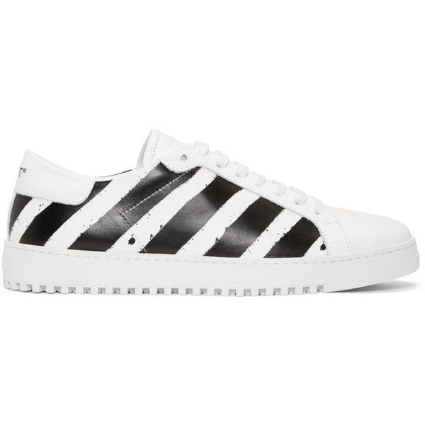 Off-White White and Black Diagonal Spray Sneakers (£390) ❤ liked on Polyvore featuring men's fashion, men's shoes, men's sneakers, black white, white, mens round toe dress shoes, mens white and black dress shoes, mens white leather shoes, mens low profile shoes and mens white shoes