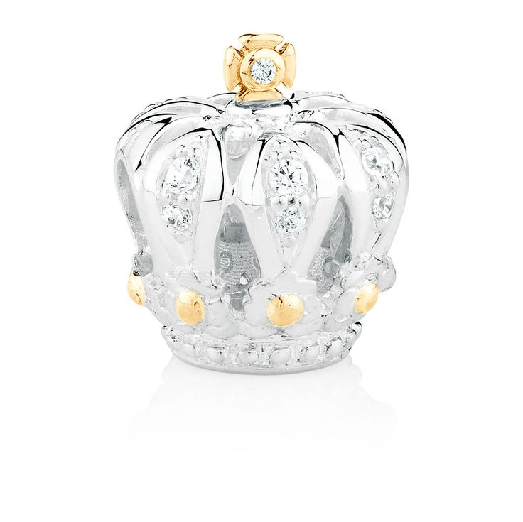 Crown Charm with Cubic Zirconia in Sterling Silver & 10ct Yellow Gold
