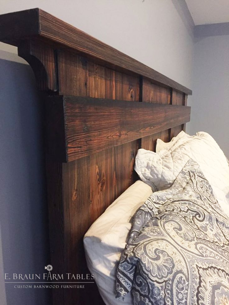 Custom king-sized reclaimed barn wood headboard -This king-sized bed was  custom - 90 Best Rustic Bedroom Design Ideas To Inspire You Images On Pinterest