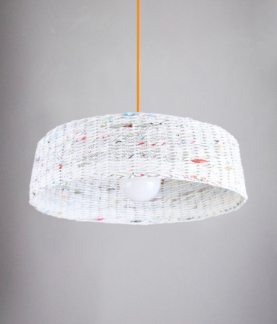 Minimal hanging eco lamp Modern designer pendant lamp Big lamp over the table Geometric simple shape Paper eco lamp White Oryginal - Hoc Big lamp.