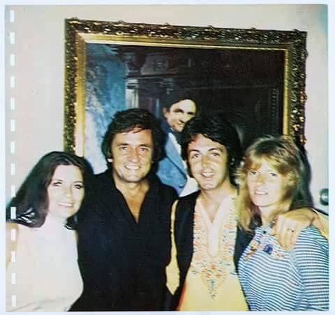 Paul & Linda McCartney at Johnny Cash & June Carter Cash's home in '69.