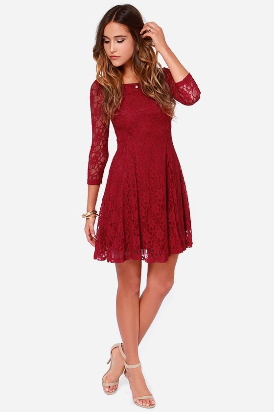 b7c12ef8f1e9 Fine and Dine Wine Red Lace Dress in 2019