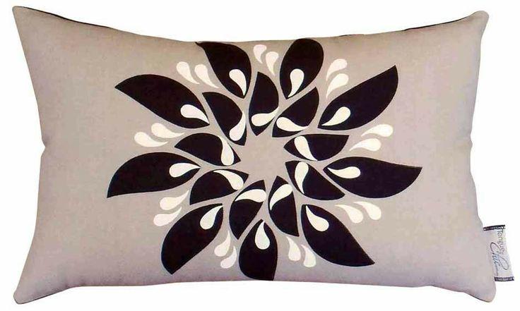 Cushion, hand-printed, handmade - RAINDROP FLEUR oatmeal