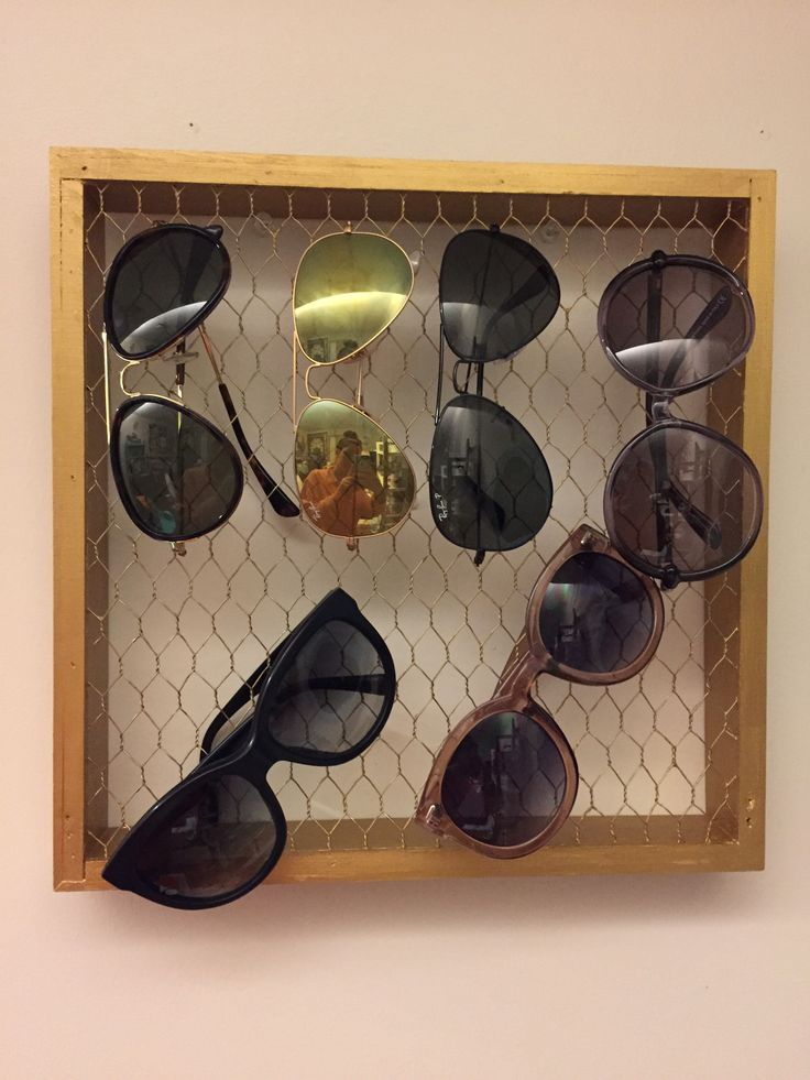 DIY Sunglasses Organizer! (Made from a chicken wire shadow box that I bought from Michaels Crafts Store)  Check out more DIY projects like this at http://misscamrynrenee.blogspot.com