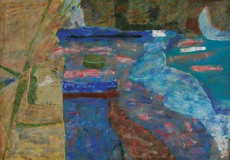 Piotr Potworowski, Seashore with blue boat / Brzeg morski z niebieską łódką on ArtStack #piotr-potworowski #art