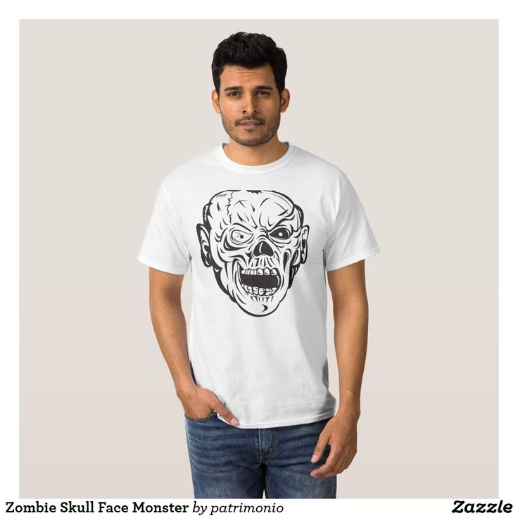 Zombie Skull Face Monster T-Shirt. Men's t-shirt with an illustration of a zombie skull done in retro style. #tshirt #zombie #skull