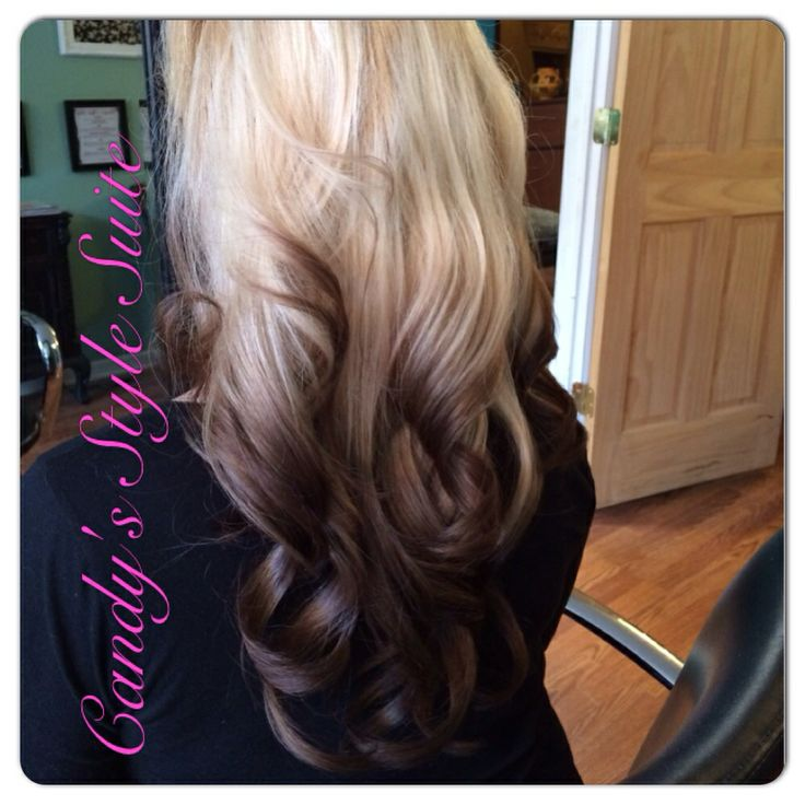 Reverse ombré, platinum blonde to dark, long hair ombré # ...