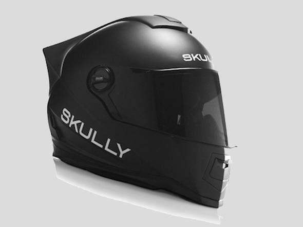 O capacete Skully usa Android e tem muitas qualidades, mas o destaque com certeza é uma câmera digital na parte traseitra, que praticamente elimina os pontos cegos do piloto. Ele bateu a meta no site de financiamento coletivo Indiedgogo e será entregue em maio de 2015 por US$ 1.400 - leia mais e veja o vídeo na Exame.