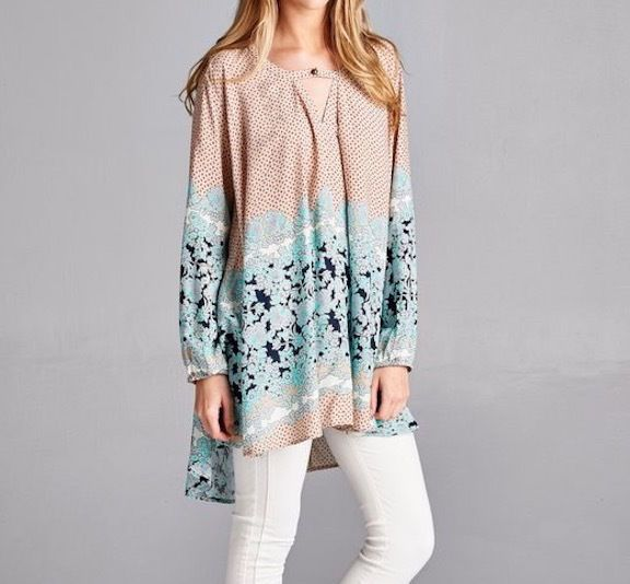 SOUTHERN GIRL FASHION $58 Floral Printed Swing Tunic Long Sleeve Mini Top Large #Boutique #Tunic #Casual