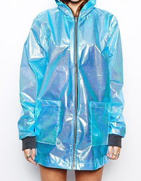 Image 3 of The Ragged Priest Hologram Metalic Hooded Rain Coat