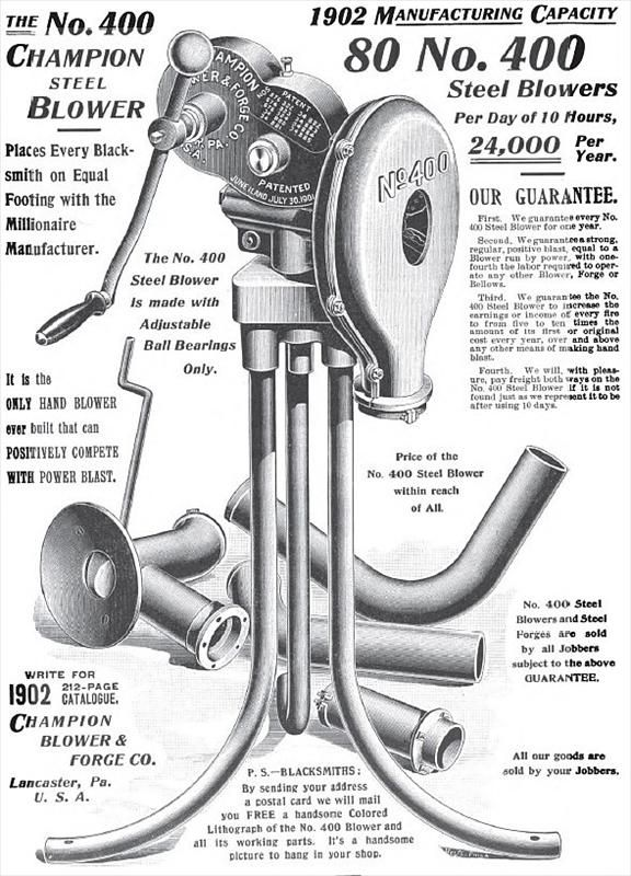 Champion Blower & Forge Co. - 1902 Ads-Champion Blower & Forge Co., Blacksmith's Machinery   VintageMachinery.org