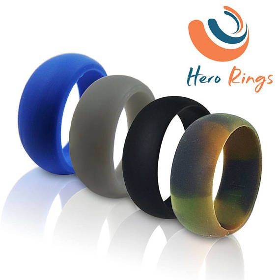 Silicone Wedding Ring For Men pack of 4 Camo, Grey, Black and Blue     Always show your Love and Commitment with a Silicone Wedding Ring WORK SPORT LOVE Protection, Comfort, and Flexibility for the Active Lifestyle  Our safe silicone rings are durable, non-conductive, heat resistant, hypo-allergenic, flexible if caught, not slick in water, lightweight, versatile, and easy to clean to wear every day. The alternative you need to traditional wedding rings.  Great for…