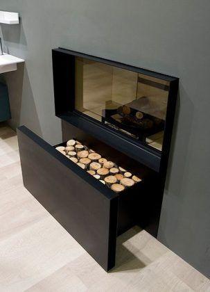 tiroir en dessous cheminée pour ranger bois