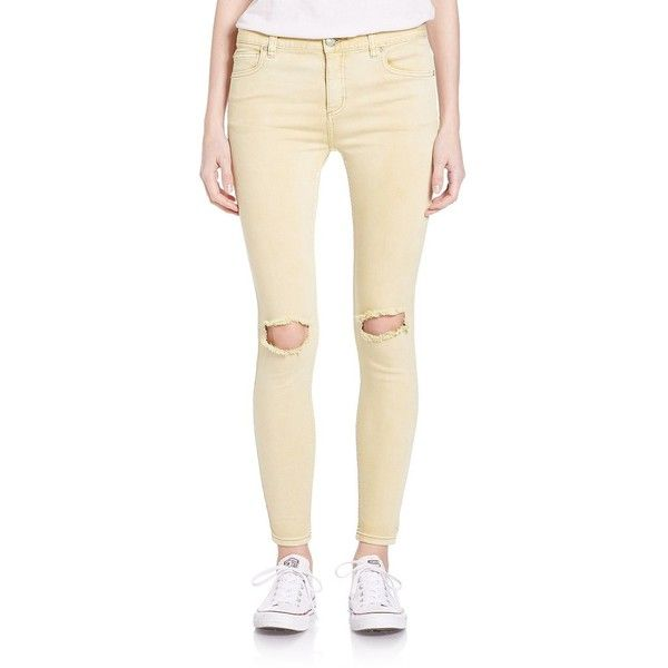 Free People Distressed Skinny Jeans- Stark White ($78) ❤ liked on Polyvore featuring jeans, citrine, ripped skinny jeans, distressed jeans, white destroyed skinny jeans, ripped jeans and destructed skinny jeans