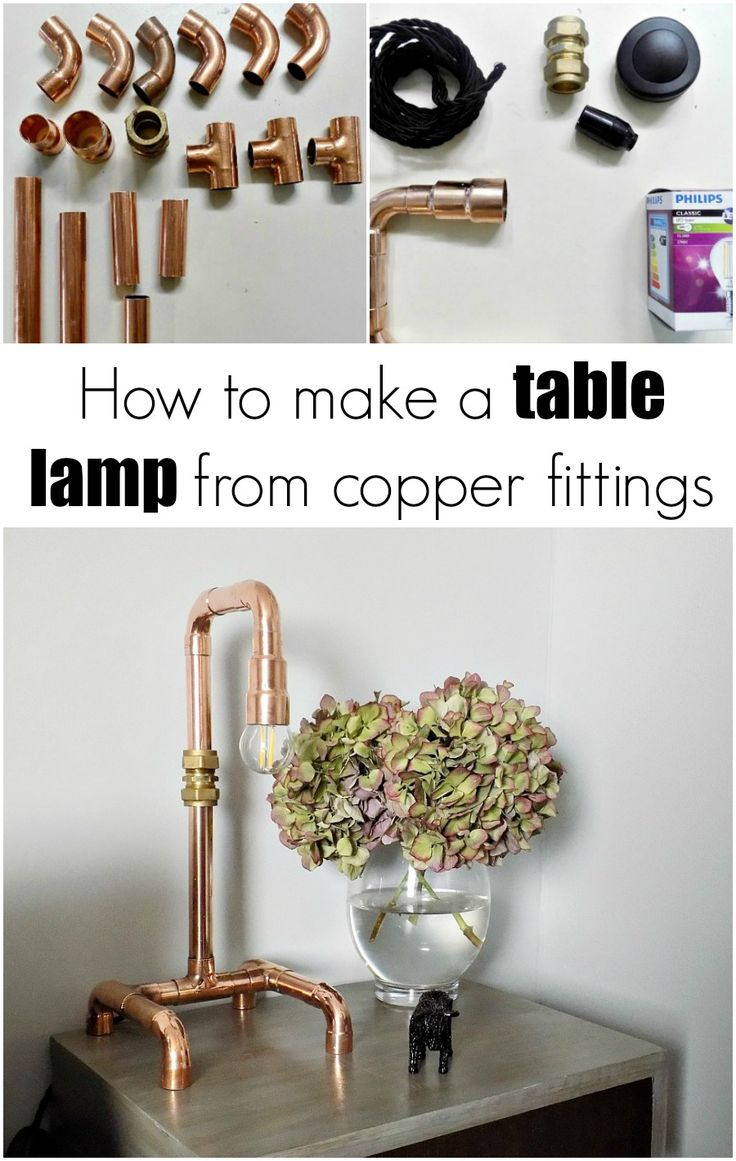 Copper pipe table lamp... Χάλκινη επιτραπέζια λάμπα - Art Decoration and Crafting