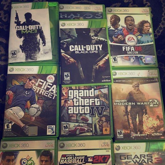 Xbox 360 games Baseball 2k7, NHL 09, fight night found 3, WWE 2k14, gears of war 3, Fifa World Cup Germany 2006, Fifa World Cup Brazil 2014, COD modern warfare 2, GTA IV, Fifa street, COD MW3, COD black ops, Fifa 08, halo 3--- all used but in good condition Other