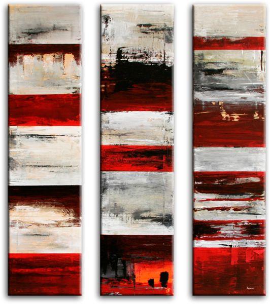 Verticaal 3 luik schilderij met veel hokjes en vakken in de kleuren rood wit zwart en.