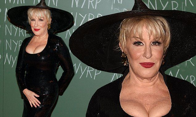 Bette Midler, 68, reveals cleavage in witch's gown for Haluweeni gala