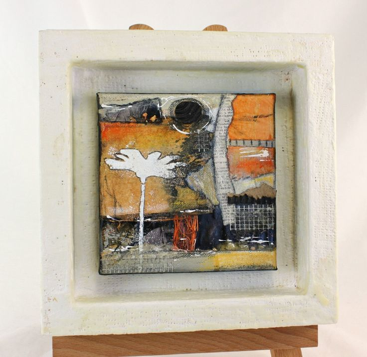 Original Mixed Media Tea Bag Art Collage Assemblage Shadowbox in Tan, Black. White, OOAK by JudyApplegarthArt on Etsy