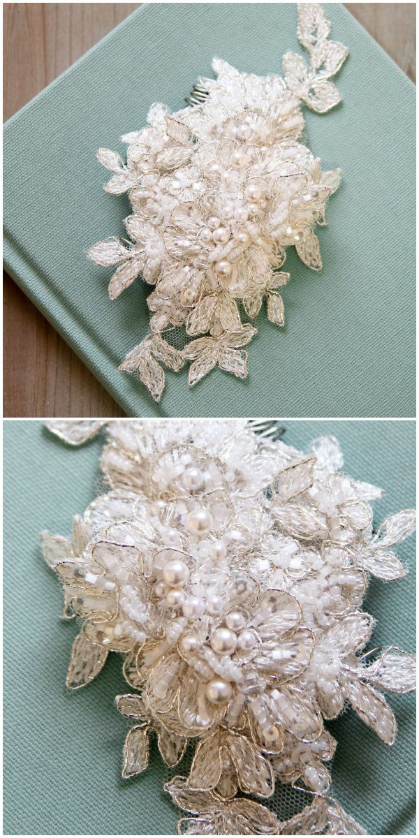 Gorgeous beaded lace wedding hair accessories by #percyhandmade
