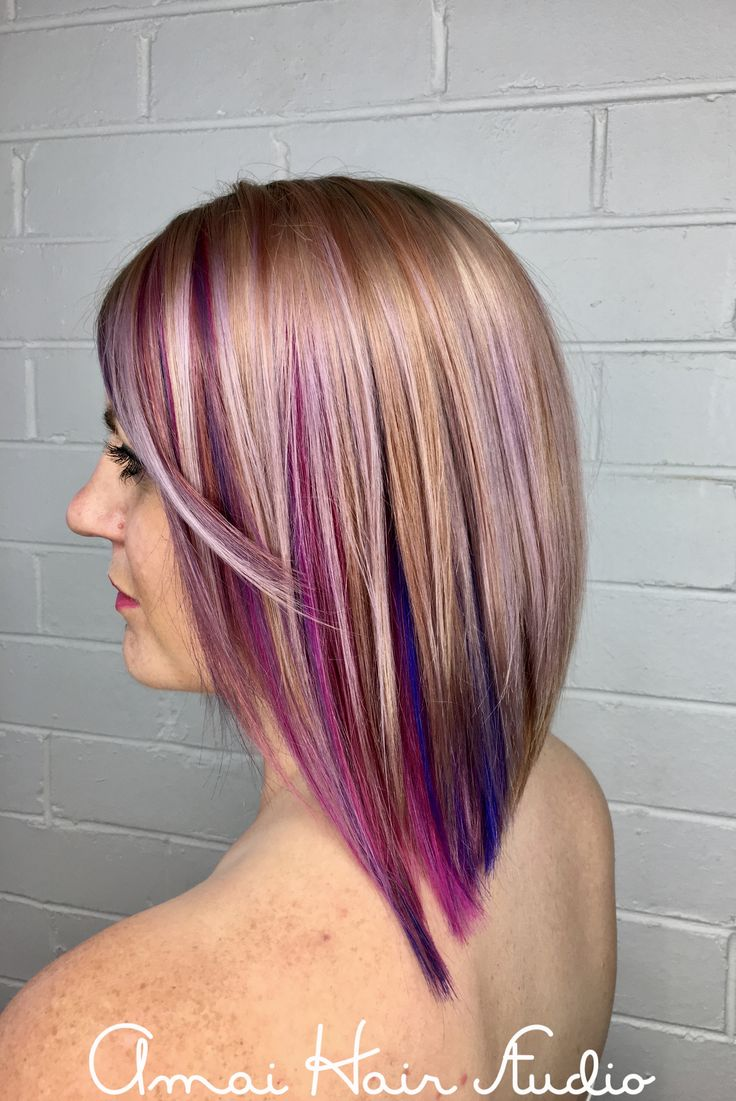 Pastel pink hair with a pink, purple and blue hidden rainbow. Amai hair studio
