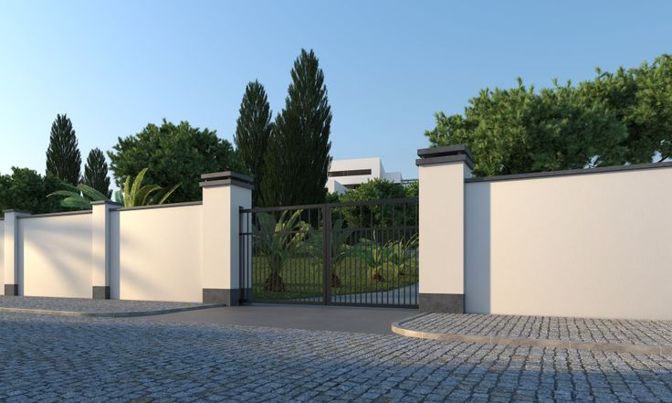 Platoflex walls with columns and built-in fence.
