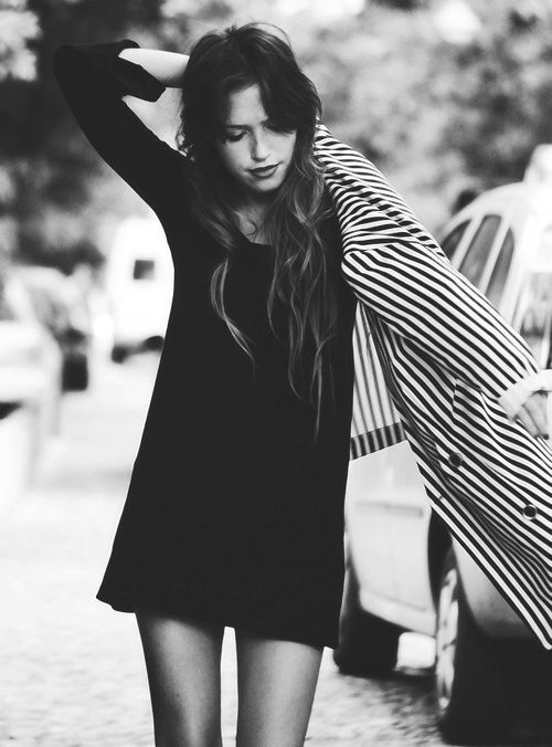...: Striped Blazer, Style, Outfit, Black White, Long Sleeve, Little Black Dresses, Hair