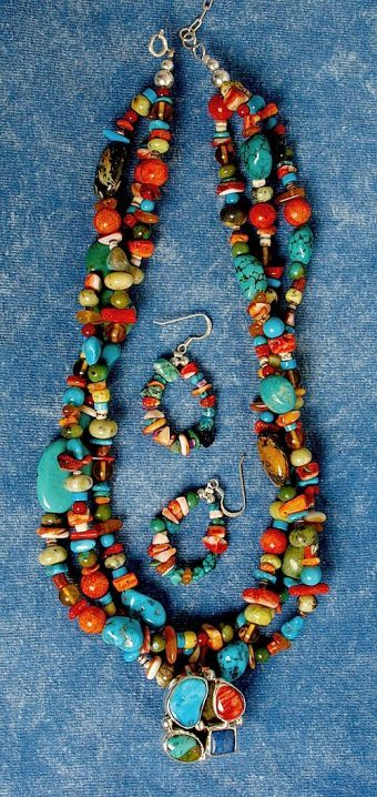 Chunky  Rainbow Necklace & Earring Set; Southwest Indian Foundation: Jewelry Necklaces, Rainbows Necklaces, Talent Artists, Beads, Chunky Rainbows, Earrings Sets, Collars Colores, Foundation Rainbows, Necklaces Earrings