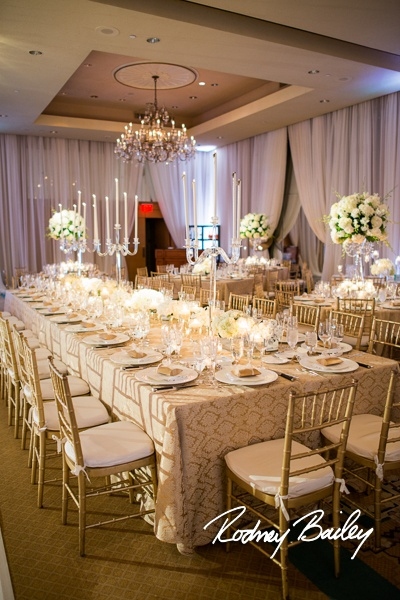 Hot trend - King Arthor tables flanked in the center of the room for wedding guests to be equally spaced around the couple
