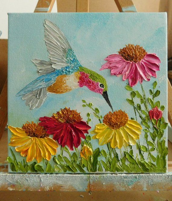 Personalized Cone Flowers and Painting Impasto Colibri Hummingbird   Etsy